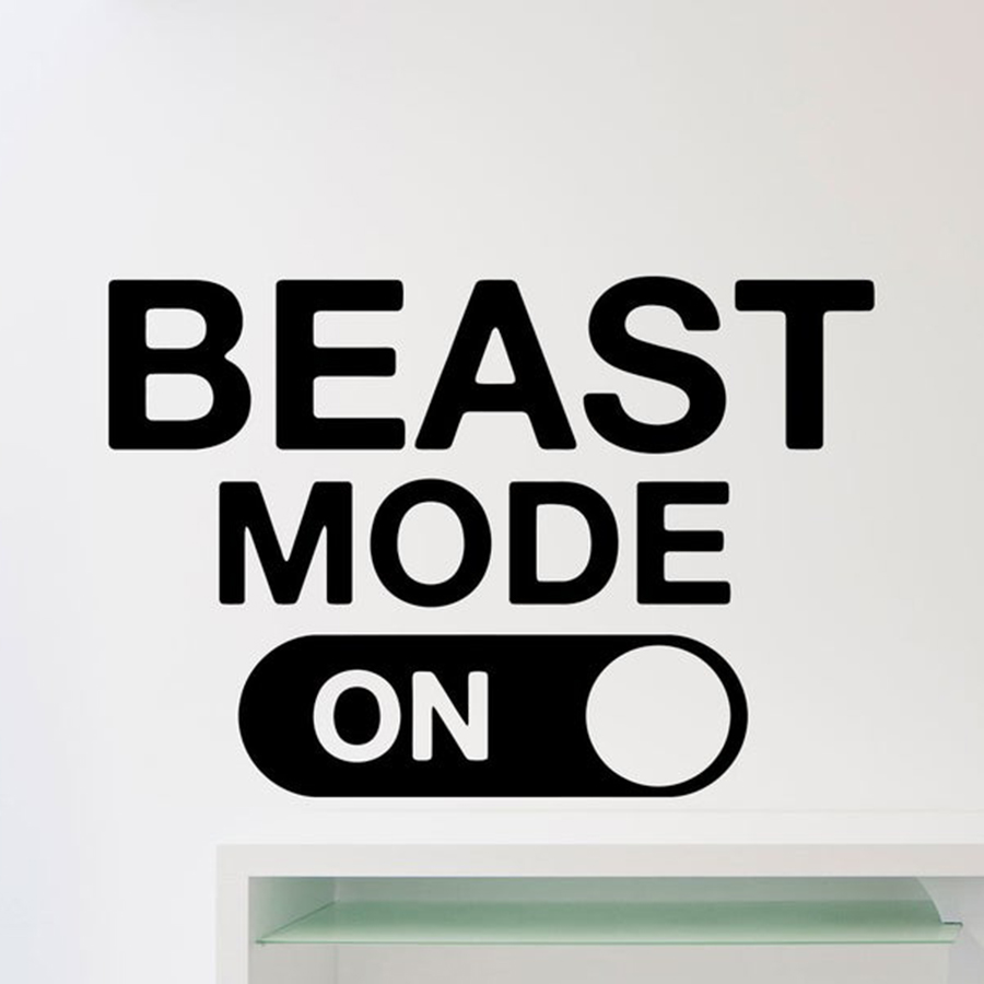 Us 4 91 30 Off Beast Mode Wall Decal Fitness Gym Motivational Quote Sticker Home Crossfit Sport Poster Workout Inspirational Art Decor C113 In Wall