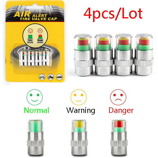 2.0 Bar 30 PSI Auto Car Tire Pressure Monitor Valve Stem Cap Sensor Indicator Alert Diagnostic Tools Kits 4PCS