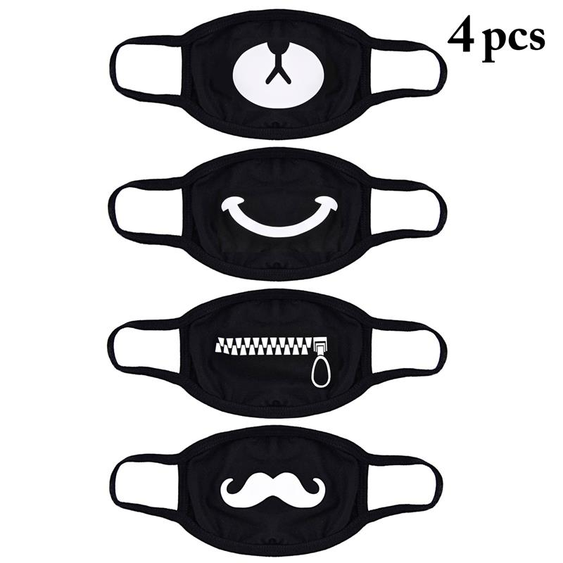4Pcs/set Black Mask Men And Women Korean Version Of The Cartoon Riding Dustproof Windproof Winter Thick Warm Mask
