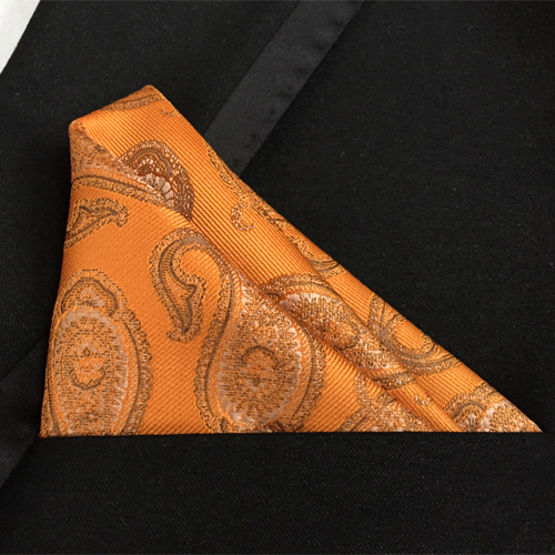 Lingyao Luxury Pocket Square High Quality Woven Handkerchief Classic Golden Yellow Paisley Hanky Towel To Match Uniform