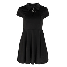 Women Black Gothic Slim Thin Dress Moom Zipper Leather Neck Pleated Casual Dress Short Sleeve Dresses Summer Lady Vitage Dress