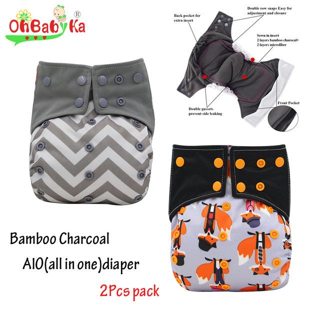 Ohbabyka all-in-one aio fralda de pano recém-nascidos com reforços duplas ajustáveis snap fralda de pano fraldas costuradas em inserir bambu