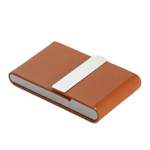 2016 New Stainless Steel PU Thin Rfid Card Protector Slim Credit card holder for cards Hardware vertical style business card box