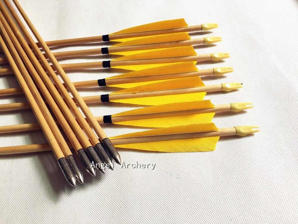 12PCS Yellow Wooden Arrow with steel arrowhead Turkey Feathers Cedar Arrows For Hunting Shooting