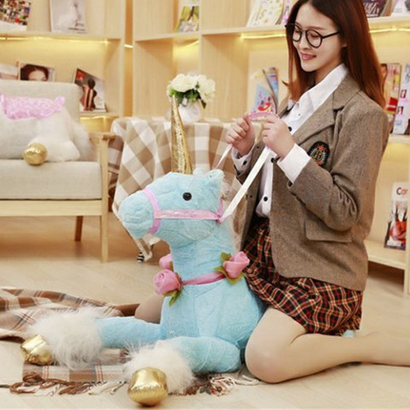 Fancytrader giant stuffed plush horse toys kids animated riding horses for girls 100cm 39inch