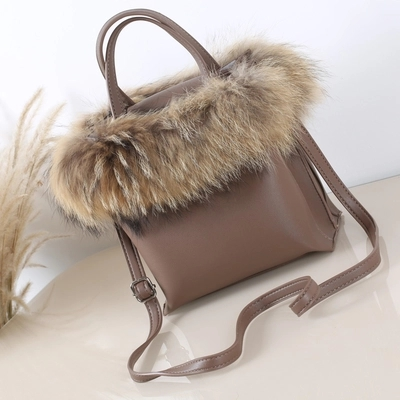 Fox Hair Women Bucket Bag Fashion Leather Ladies' Tote Bag Famous Design High Quality Women Leather Handbag and Purse Sac A Main цена