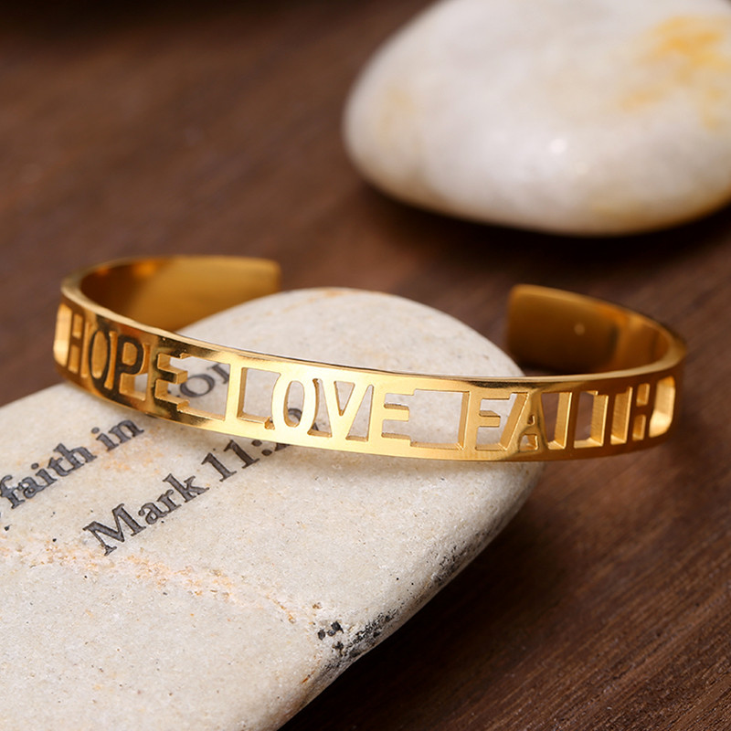 3b2d20de98dfa US $7.77 |Men Women Summer Stainless Steel Rose Gold HoLLow Out Letter HOPE  LOVE FAITH Cuff Bracelet Bangle Jewelry-in Bangles from Jewelry & ...