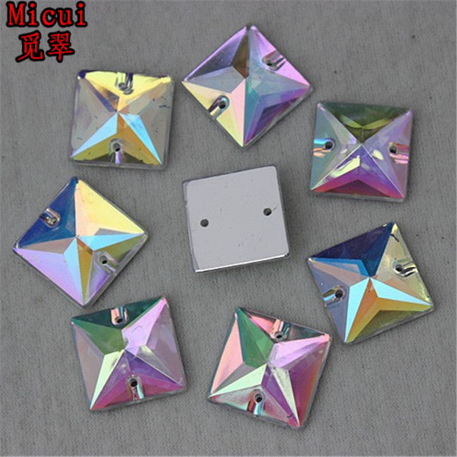 Micui 100PCS 16mm AB Clear Square Acrylic Rhinestones Crystal Flat Back  Beads Sew On 2 Holes Stones For Clothing Craft ZZ166 f77d55d7bf6e