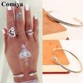 Women Vintage Ethnic Boho Silver Plated Bangle Wristband Bracelet Crystal Open Arm Cuff Lady Gift Bracelets & Bangles Jewelry