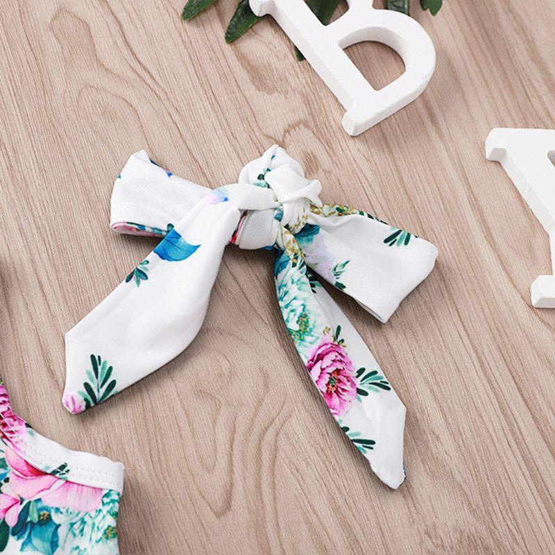 Купить с кэшбэком 2 Pcs/set Children Suit Peony Print Pattern Plush Ball Onesies Clothes Hair Band Kids Girls Floral Suits Seaside Style Vacation