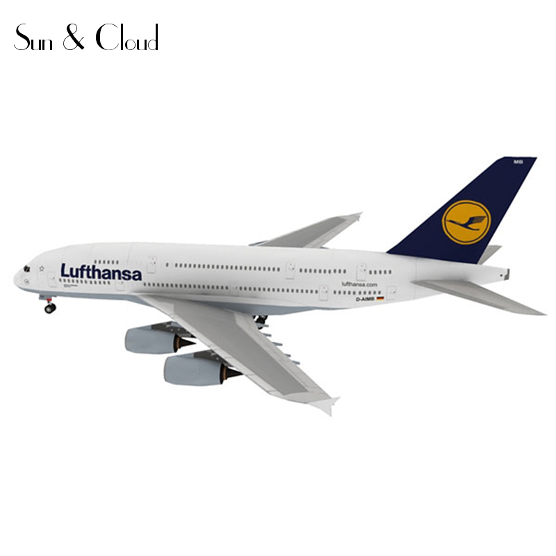 1:144 DIY 3D Airbus A380 Airliner Plane Aircraft Paper Model Assemble Hand Work Puzzle Game DIY Kids Toy