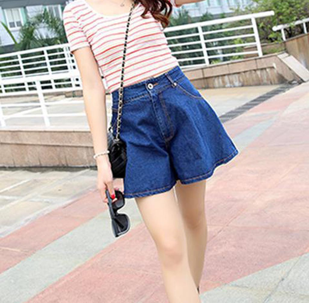 Fashion Women Loose High Waist Jean Short Summer Casual Waisted Broad Legged Jeans Shorts