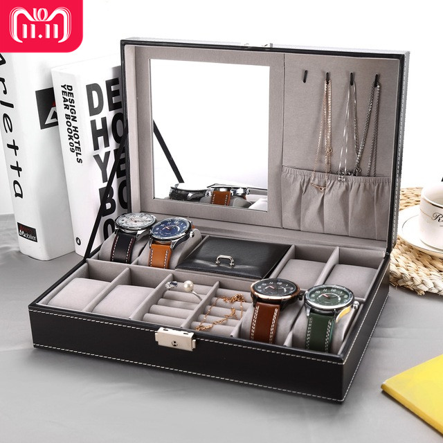 2 In 1 8 Watch Box Grids+3 Mixed Grids PU Leather Watch Case Storage Organizer Box Luxury Jewelry Ring Display Watch Boxes Black hot watch box 2 3 grids black pu leather jewelry box watch winder organizer case watch storage display holder gift box