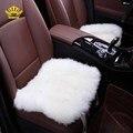 Piel de oveja piel Natural asiento asiento del coche cubre 1 unid de fornt tamaño universal para coche-cubre capas de piel en el asiento de automóviles