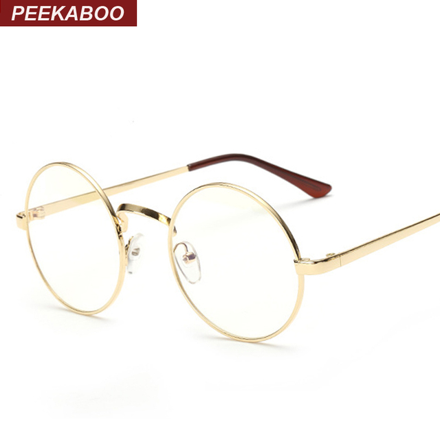 Peekaboo Cheap small round nerd glasses clear lens unisex gold round metal frame glasses frame optical men women black uv oculos