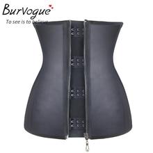 Burvogue Women Corset  Waist Corsets  Black Latex Zipper Underbust Corset Slimming 9 Steel Bone Body Shaper Corset