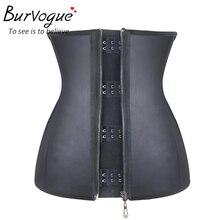 Burvogue женский ремень, черный латексный корсет на молнии под грудью, корсет для похудения, 9 стальных костей, корсет для коррекции фигуры