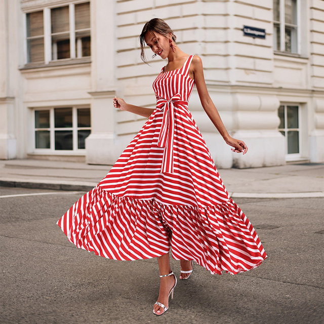 980a0f5942ab 2018 Fashion Striped Summer Dresses Women Strapless Long Dresses With Belt  A-line Ruffles Sexy Dress Vestidos Plus Size 3XL Red