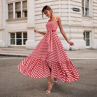 2018 Fashion Striped Summer Dresses Women Strapless Long Dresses With Belt A line Ruffles Sexy Dress Vestidos Plus Size 3XL Red