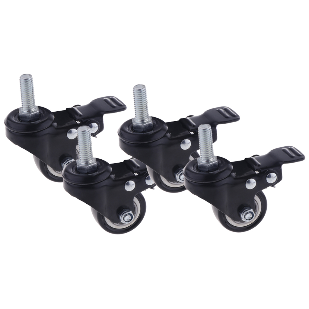 4PCS 1.5'' Mute Rubber Swivel Plate Caster Wheel M10 Universal W/ Brake Lock