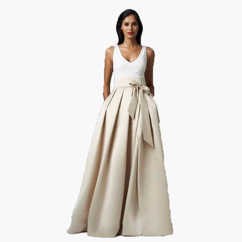 Modest Beige Pleated Sashes Women Formal Skirt Faldas Vestidos Saia Custom Made High Qality Maxi Skirts for Evening Prom Lady