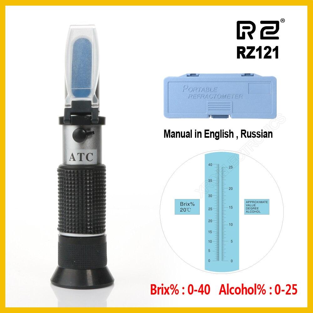 RZ Alcohol refractómetro azúcar de vino de uva de concentración 0 ~ 25% de Alcohol 0 ~ 40% Brix probador del metro ATC RZ121 herramienta de mano