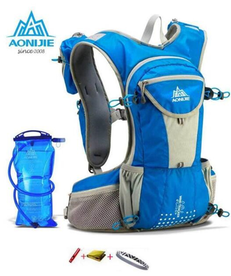 AONIJIE Running Nylon Backpack 12L Outdoor Lightweight Hydration Water Pack Sport Bag Climbing Cycling Hiking + 2L Water Bag aonijie men women outdoor sports lightweight running 8l backpack marathon cycling hiking bag with 1 5l hydration water bag