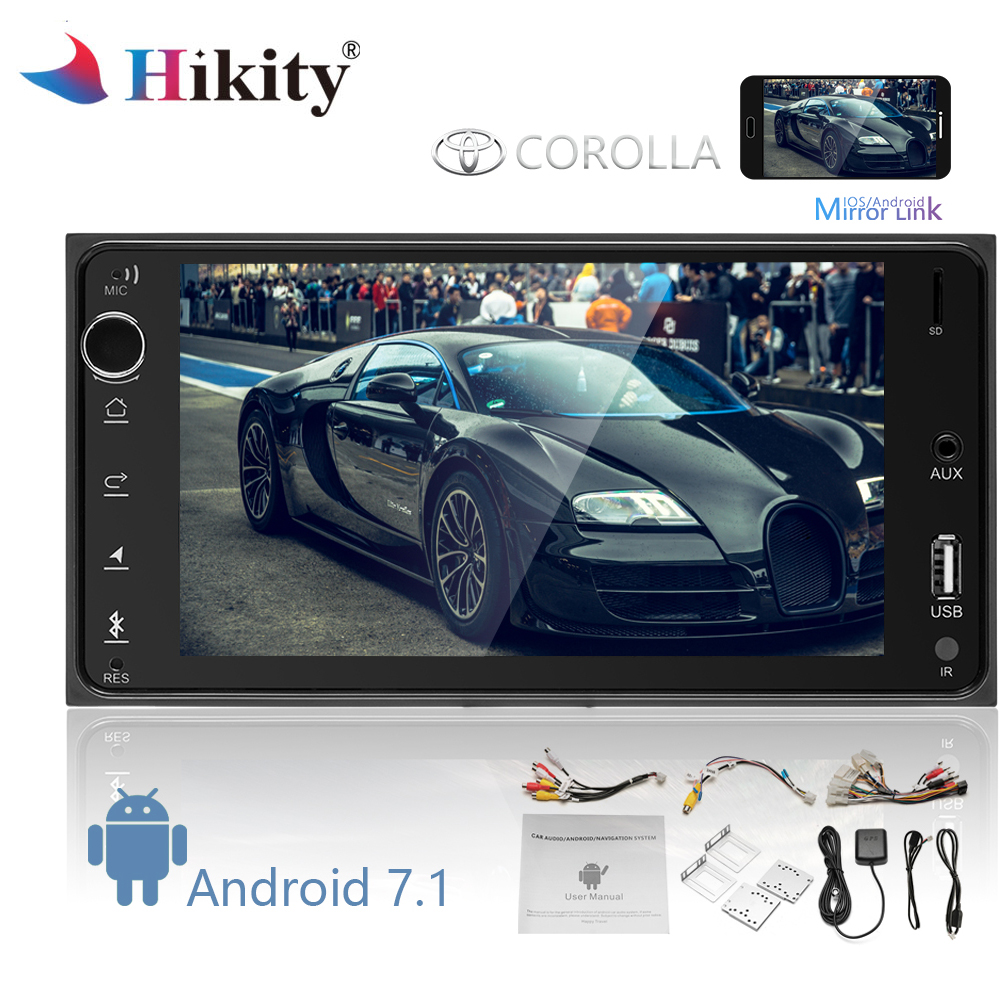 Hikity 2 din Android Car Multimedia GPS Navigation Car Radio Audio Bluetooth WIFI FM MP5 Radio Mirror Link Autoradio for Toyota