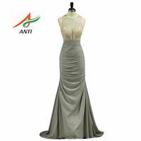 ANTI Hot Selling Silvery Mermaid Evening Dress Elegant Chiffon Evening Dresses With Crystal Sheer Party Gowns
