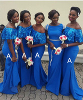 Wonderful Blue Mermaid African Bridesmaid Dresses Boat Neck Off The Shoulder Sequin Satin Long Bridesmaid Gowns Robe De Soiree