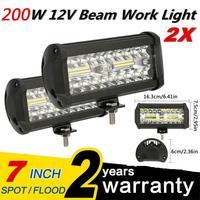 2x 400W 7''Car LED Work Light Bar Spot Flood Beams Combo For Off road SUV Truck