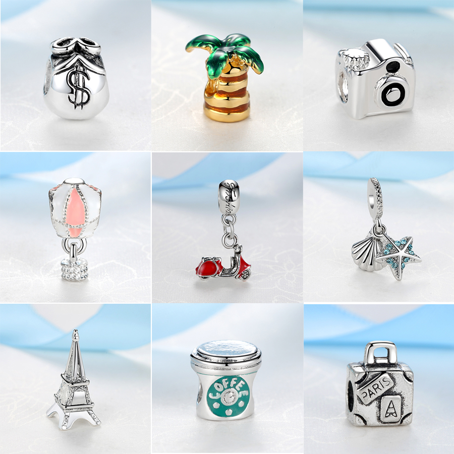Original Pandora Bracelets Jewelry Charms Camera Pendant Eiffel-Tower Travel Silver-Plated