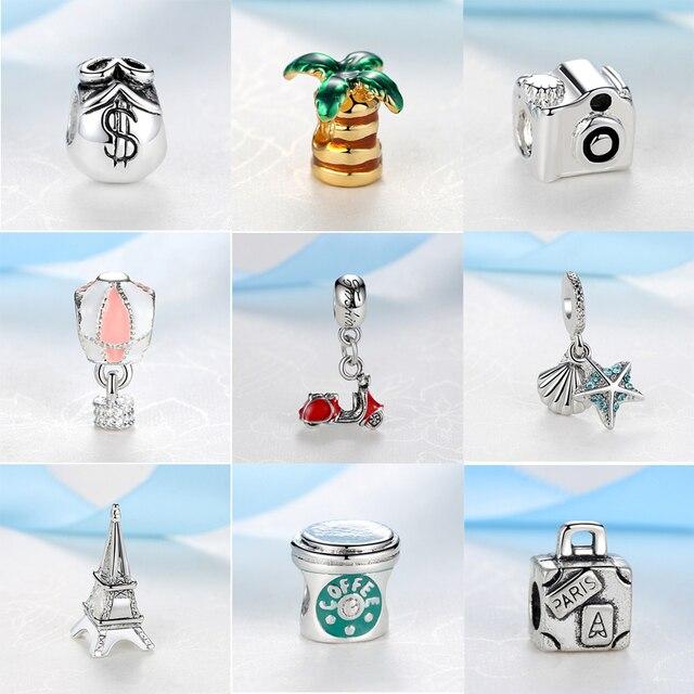 Silver Plated Beads Travel Eiffel Tower Camera Pendant Charms Fit Original Pandora Bracelets Women DIY