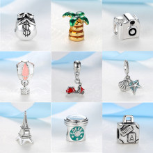 Dangle Beads Charm Love To Travel Eiffel Tower Camera Pendant Charms Fit Original Pandora Bracelets Necklace Women DIY Jewelry(China)