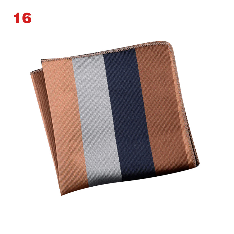 New Arrival Men's Handkerchief  Striped Floral Printed Hankies Polyester Business Pocket Square Chest Hanky