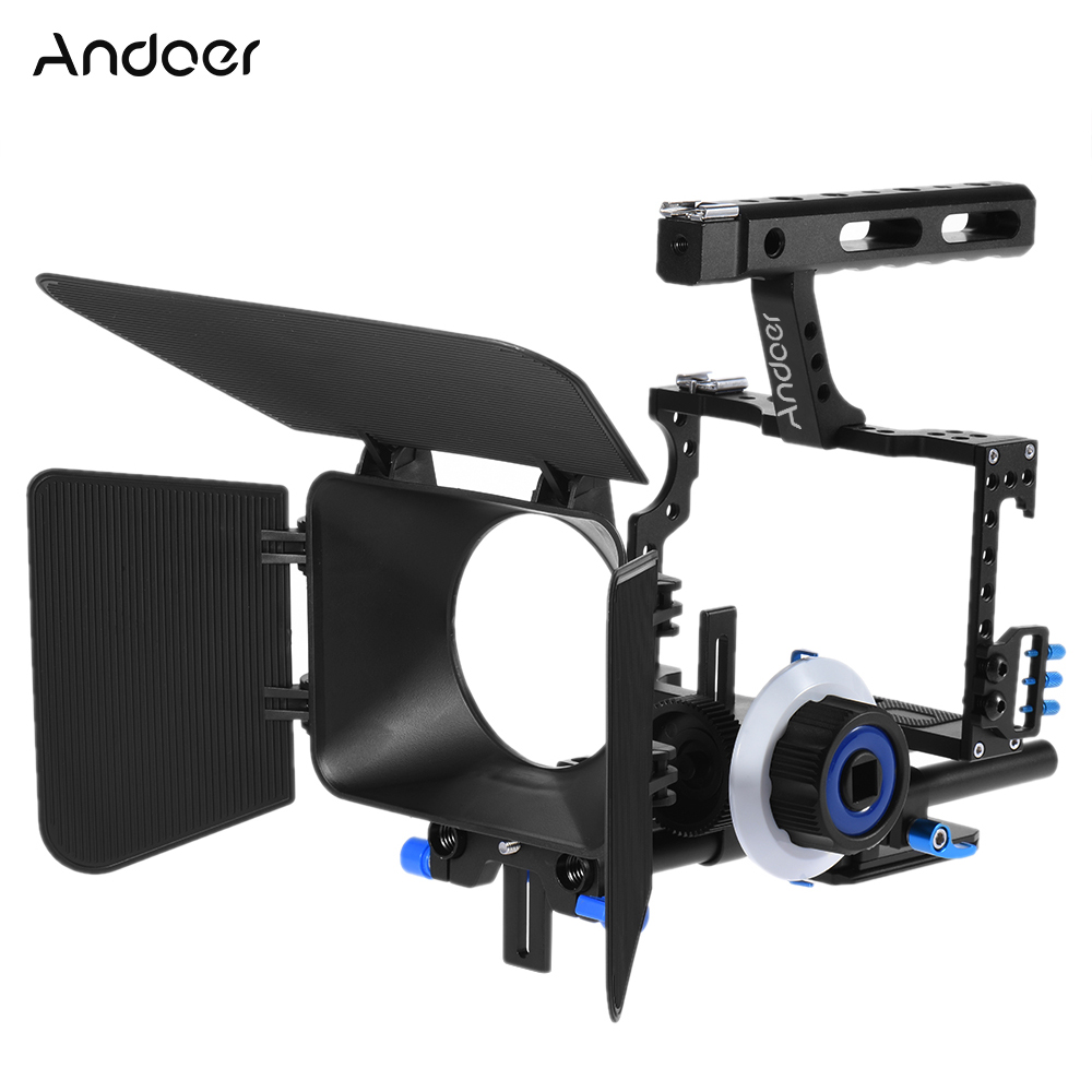 Andoer Aluminum Alloy Camera Camcorder Video Cage Rig Kit Film Making System with 15mm Rod Matte
