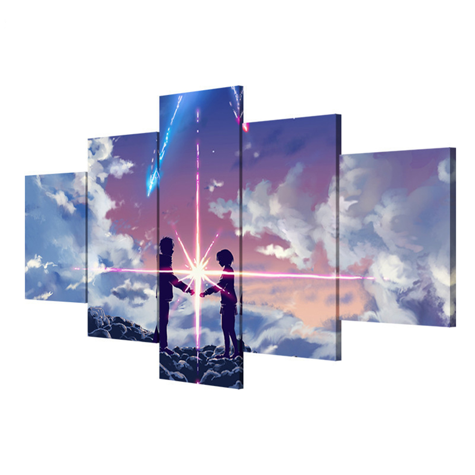 Your Name Anime 5 Pieces Home The Wall Art Paintings on Canvas Wall Art Living Room Artwork Modern HD Print Painting Artwork in Painting Calligraphy from Home Garden