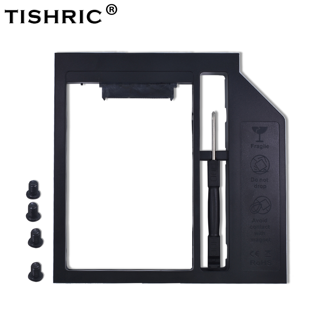 TISHRIC For 9.5/9mm DVD-ROM SATA 3.0 Caddy Optibay For 2nd 2.5 HDD SSD External Hard Drive Enclosure Universal Box Adapter Case