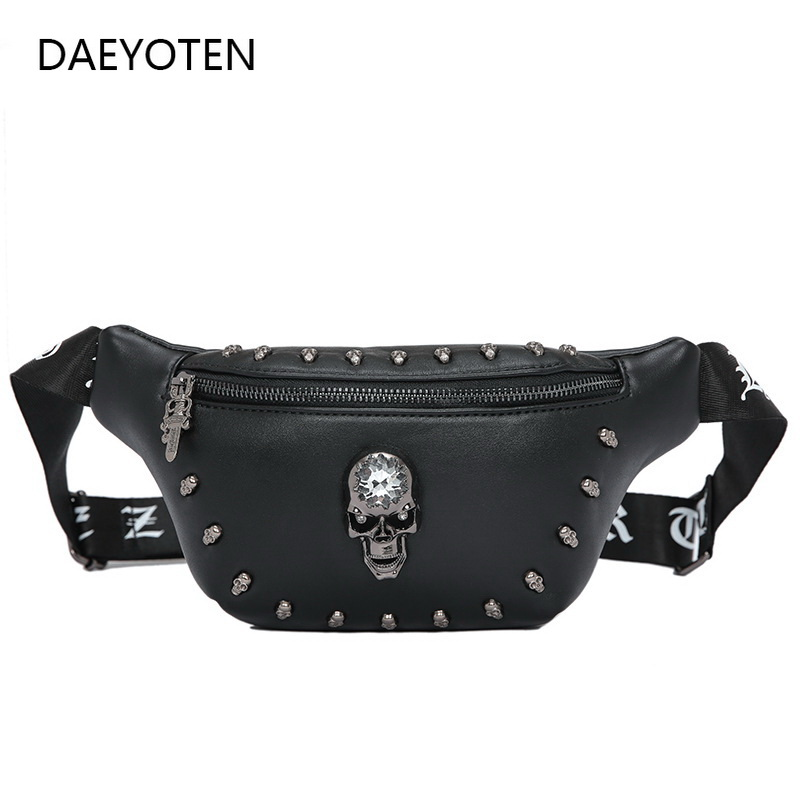 DAEYOTEN Punk Style Skull Chest Bag Luxury Rivet Women Fanny Pack Men Belt Bags Travel Fashion Shoulder Bag Kidney Bumbag ZM0208