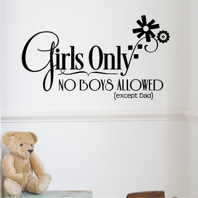 Girls only no boys allowed except dad die cut wall decals girl teens