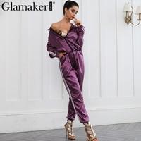 Glamaker Women Autumn Two Pieces Suit Hoodied Sweatshirt Satin Fashion Chic Sweat Suit Long Pants Zipper