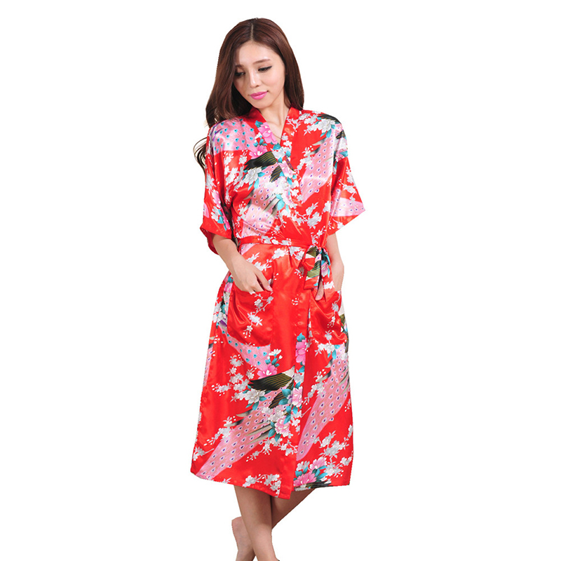 2016 New Silk Kimono Robe Bathrobe Women White Bridesmaid Robes Sexy Red Satin Long Ladies Dressing Gowns - Lily Jewelry's store