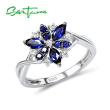 SANTUZZA Silver Rings for Woman Blue Flower Ring Blue Nano Cubic Zirconia Rings Pure 925 Sterling Silver Party Fashion Jewelry cheap 925 Sterling Women GDTC Prong Setting Silver Ring for Women ROUND TRENDY Bridal Sets 100 925 Sterling Silver White Rhodium Plated