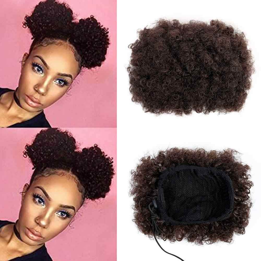 MEIFAN Multiple Colors Short Kinky Curly Synthetic Hair Chignon with Rubbon Band Drawstring Wrap Ponytail Hair Extensions
