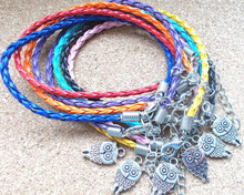 Animal Moon Cat Owl HAMSA HAND Bracelets Lucky Charms Weave Leather Bracelet Amulet Jewelry Wristband For Women Gifts 10pcs D5