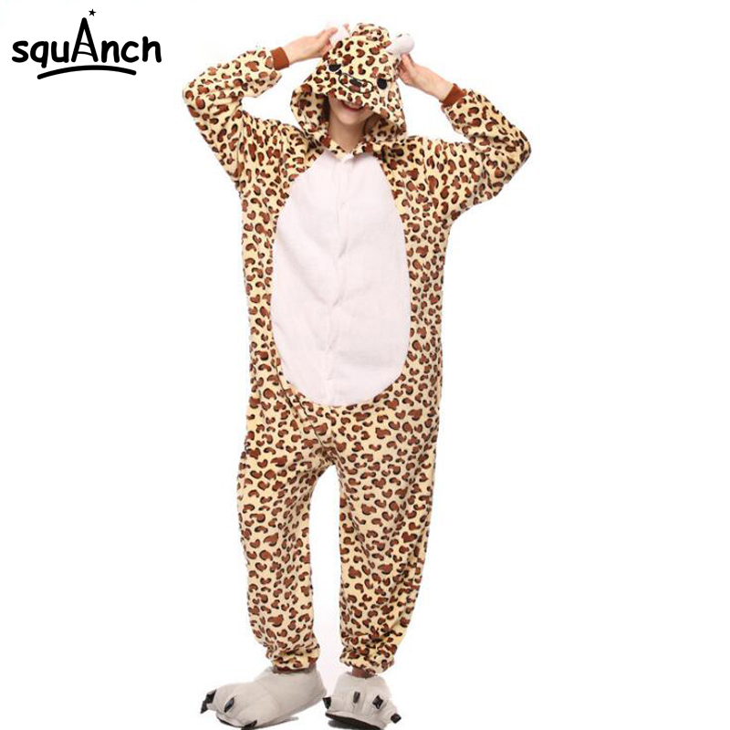 Leopard Kigurumi Brown Panther Onesie Women Adult Girl Pajama Cartoon Animal Funny Carnival Party Suit Winter Soft Sleepwear