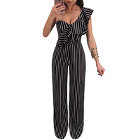 One Shoulder Ruffles Elegant Jumpsuit Summer Casual Sleeveless Wide Leg Pants Women Striped Jumpsuit Rompers Party
