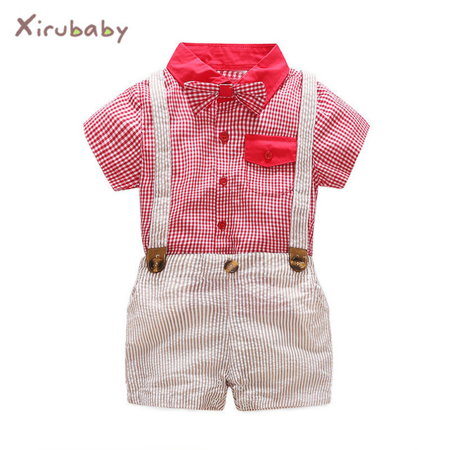 Xirubaby verano niño recién nacido Ropa bebé niños juegos de ropa Lazo Rojo  camisetas + trajes 89691bfd92bd