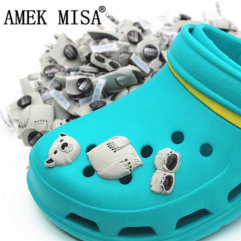 3Pcs A Set Shoe Decorations Novelty Cute PVC Animal 3D Polar Bear Garden Shoes Accessories Croc Buckles Charm Ornaments 3D-BJX03