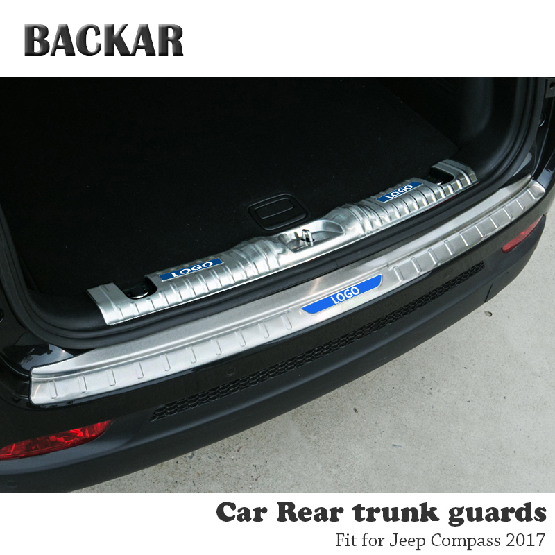 BACKAR 1pc Auto Car Rear Trunk Bumper Stickers For Jeep Compass 2017 Accessories Trunk Door Trim Anti Collision Stainless Steel